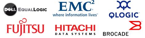 Dell EqualLogic, EMC, QLogic, Fujitsu, Hitachi Data Systems (HDS), Brocade